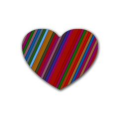 Color Stripes Pattern Rubber Coaster (heart)  by Simbadda