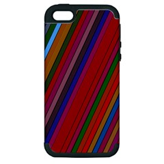 Color Stripes Pattern Apple Iphone 5 Hardshell Case (pc+silicone) by Simbadda