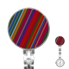 Color Stripes Pattern Stainless Steel Nurses Watch