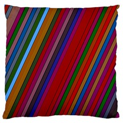 Color Stripes Pattern Large Flano Cushion Case (two Sides) by Simbadda