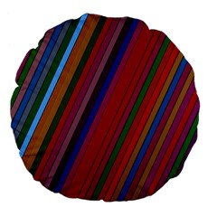 Color Stripes Pattern Large 18  Premium Flano Round Cushions by Simbadda