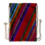 Color Stripes Pattern Drawstring Bag (Large) Front