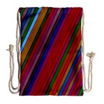 Color Stripes Pattern Drawstring Bag (Large) Back