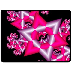 Star Of David On Black Double Sided Fleece Blanket (large)  by Simbadda