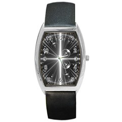 Black And White Bubbles On Black Barrel Style Metal Watch by Simbadda