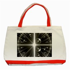 Black And White Bubbles On Black Classic Tote Bag (red) by Simbadda