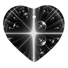 Black And White Bubbles On Black Heart Ornament (two Sides) by Simbadda