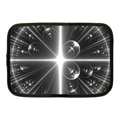 Black And White Bubbles On Black Netbook Case (medium)
