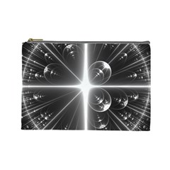 Black And White Bubbles On Black Cosmetic Bag (large)