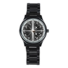 Black And White Bubbles On Black Stainless Steel Round Watch
