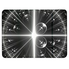 Black And White Bubbles On Black Samsung Galaxy Tab 7  P1000 Flip Case by Simbadda