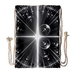 Black And White Bubbles On Black Drawstring Bag (large) by Simbadda
