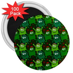 Seamless Little Cartoon Men Tiling Pattern 3  Magnets (100 Pack) by Simbadda