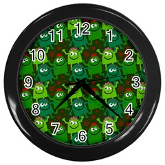 Seamless Little Cartoon Men Tiling Pattern Wall Clocks (black) by Simbadda