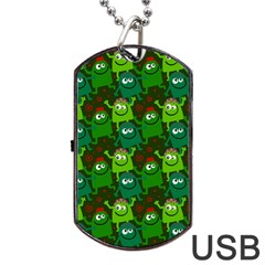 Seamless Little Cartoon Men Tiling Pattern Dog Tag Usb Flash (two Sides) by Simbadda