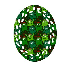 Seamless Little Cartoon Men Tiling Pattern Ornament (oval Filigree) by Simbadda