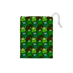 Seamless Little Cartoon Men Tiling Pattern Drawstring Pouches (small)  by Simbadda