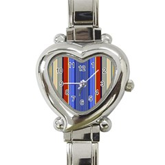 Colorful Stripes Background Heart Italian Charm Watch