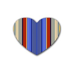 Colorful Stripes Background Rubber Coaster (heart)  by Simbadda