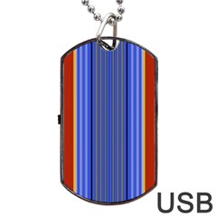 Colorful Stripes Background Dog Tag Usb Flash (two Sides) by Simbadda