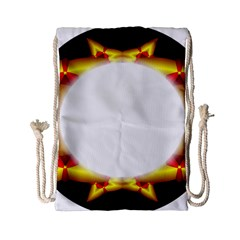 Circle Fractal Frame Drawstring Bag (small) by Simbadda