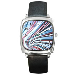 Wavy Stripes Background Square Metal Watch by Simbadda
