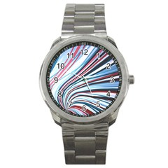 Wavy Stripes Background Sport Metal Watch