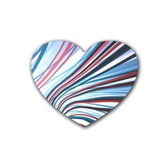 Wavy Stripes Background Heart Coaster (4 Pack)