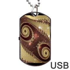Space Fractal Abstraction Digital Computer Graphic Dog Tag Usb Flash (one Side) by Simbadda