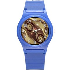 Space Fractal Abstraction Digital Computer Graphic Round Plastic Sport Watch (s) by Simbadda