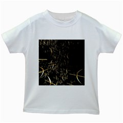 Golden Bows And Arrows On Black Kids White T Shirts