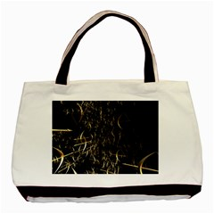 Golden Bows And Arrows On Black Basic Tote Bag by Simbadda