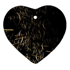 Golden Bows And Arrows On Black Heart Ornament (two Sides) by Simbadda