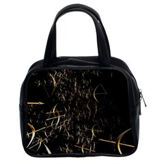 Golden Bows And Arrows On Black Classic Handbags (2 Sides) by Simbadda