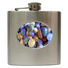 Rock Tumbler Used To Polish A Collection Of Small Colorful Pebbles Hip Flask (6 Oz) by Simbadda