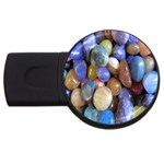 Rock Tumbler Used To Polish A Collection Of Small Colorful Pebbles USB Flash Drive Round (4 GB) Front
