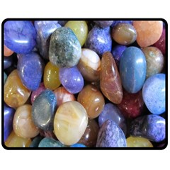 Rock Tumbler Used To Polish A Collection Of Small Colorful Pebbles Fleece Blanket (medium)  by Simbadda
