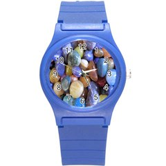 Rock Tumbler Used To Polish A Collection Of Small Colorful Pebbles Round Plastic Sport Watch (s) by Simbadda