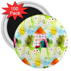 Summer House And Garden A Completely Seamless Tile Able Background 3  Magnets (100 Pack) by Simbadda