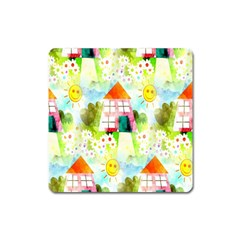 Summer House And Garden A Completely Seamless Tile Able Background Square Magnet by Simbadda