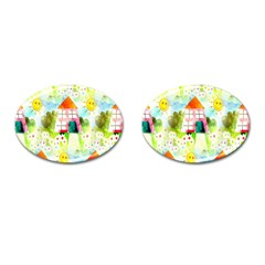 Summer House And Garden A Completely Seamless Tile Able Background Cufflinks (oval) by Simbadda