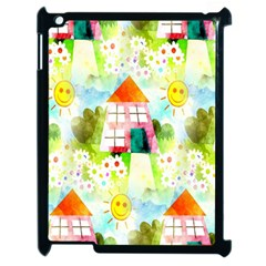 Summer House And Garden A Completely Seamless Tile Able Background Apple Ipad 2 Case (black) by Simbadda