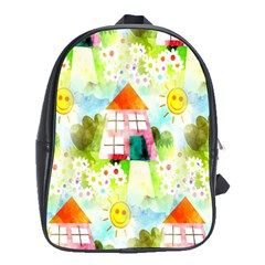 Summer House And Garden A Completely Seamless Tile Able Background School Bags (xl)  by Simbadda