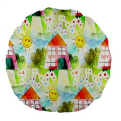 Summer House And Garden A Completely Seamless Tile Able Background Large 18  Premium Flano Round Cushions by Simbadda