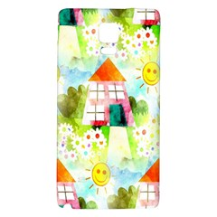 Summer House And Garden A Completely Seamless Tile Able Background Galaxy Note 4 Back Case by Simbadda