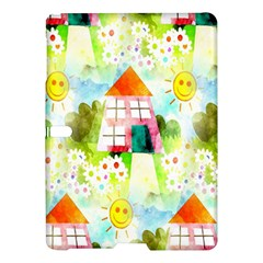 Summer House And Garden A Completely Seamless Tile Able Background Samsung Galaxy Tab S (10 5 ) Hardshell Case  by Simbadda