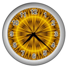 Fractal Yellow Kaleidoscope Lyapunov Wall Clocks (silver)