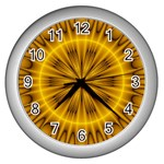 Fractal Yellow Kaleidoscope Lyapunov Wall Clocks (Silver)  Front