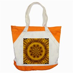 Fractal Yellow Kaleidoscope Lyapunov Accent Tote Bag by Simbadda