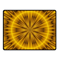 Fractal Yellow Kaleidoscope Lyapunov Fleece Blanket (small) by Simbadda